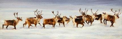 Caribou Crossing, Oil on Canvas, 36 x 12""