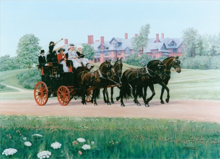"""Coaching at Shelburne Farms"" Oil on canvas, 30"" x 40"""