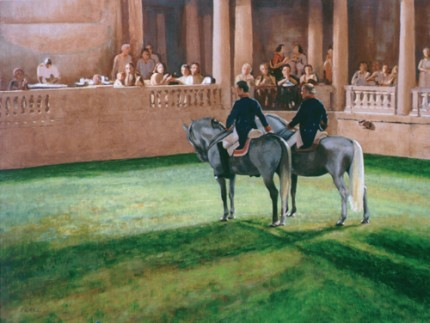 """Dressage in the Italian Garden"" Oil on canvas, 24"" x 30"""