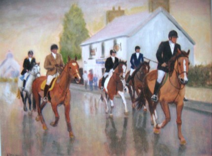 """Hunting in Co Antrim"" Oil on board, 24 x 20 inches, Signed"