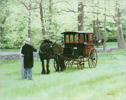 """Mr. Hopkins' Omnibus"" Oil on canvas, 24"" x 30"""