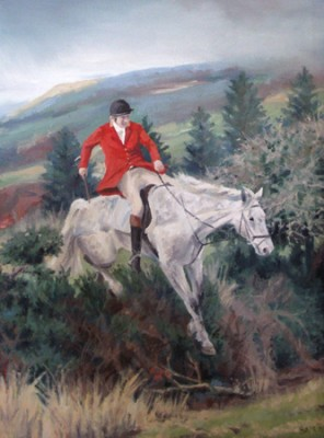 """An Capall Maith! West Carbery Hunt, Oil on Canvas, 16x12"""""""