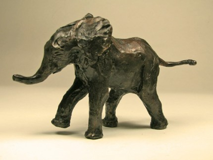 """Baby African Elephant"" Bronze, Edition of 100, 4 x 2 x 6 inches, Signed"