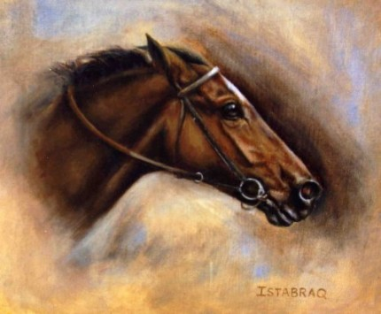 Istabraq in motion, Oil on Canvas, 8 x 10 inches