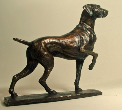 """Lennie - German Shorthaired Pointer"" Bronze, Edition of 25, 6 x 2 x 8 inches, Signed"