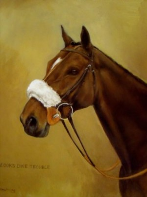 Looks Like Trouble (Winner, Cheltenham Gold Cup 2000), Oil on Canvas, 18 x 14 inches