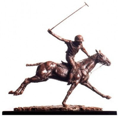 """""""Going for Goal"""" Awarded The British Art Trust Prize for Best Sculpture 2007, Offside forehand, Bronze, Edition: 8/25, 51 x 46 x 12 cm"""
