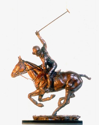 """""""Turning the Game"""" Howard Hipwood modelled for this sculpture at Guards and Royal Berkshire polo clubs, Bronze, Edition: 10/18, 41 x 59 x 19 cm"""