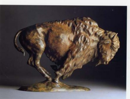 """Bison"" Bronze, Edition of 9, Mottled brown patination, 12 x 18 inches"