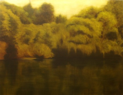 """""""Green River"""" Oil on canvas, 48 x 62 inches, Signed"""