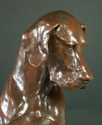 """Life Size Great Dane"" Bronze, Edition of 9, Mid-brown patination, 36 inches high"