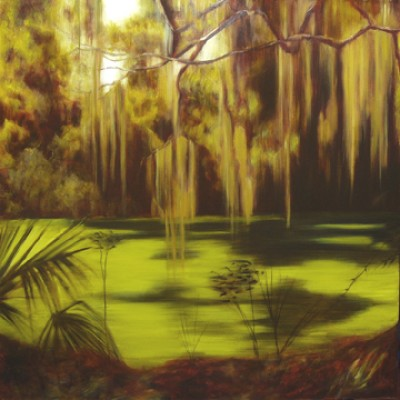 """""""Hanging Moss"""" Oil on canvas, 30 x 30 inches, Signed"""