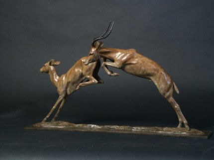 """Impala"" Bronze, Edition of 9, Light brown patination, 14 x 25 inches"