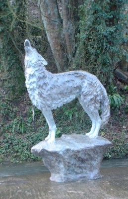 """Life Size Grey Wolf"" Bronze, Grey patination"