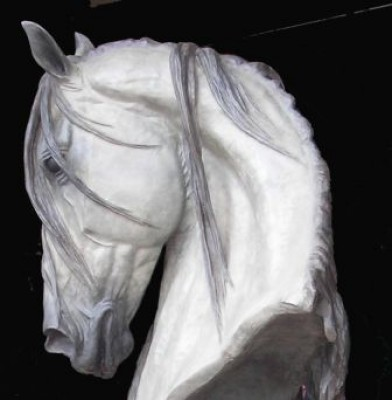 """Life Size Grey Horse Head"" Bronze, Edition of 7, Grey and dark grey patination, 38 inches high (76 inches including bronze plinth)"