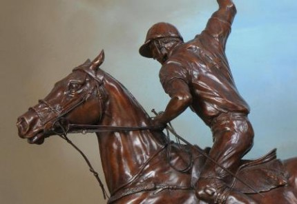 """Polo Offside Forehand"" Bronze, Edition of 9, Mid-brown patination, 31 x 25 inches"