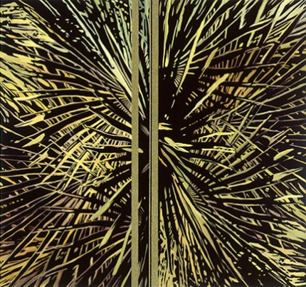 """""""Palms"""" Diptych, Oil/Alkyd/Sand on canvas, 66 x 70 inches, Signed"""