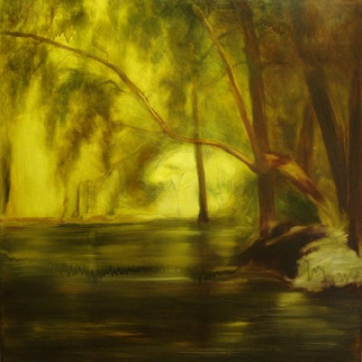 """""""Pond #1"""" Oil on canvas, 36 x 36 inches, Signed"""