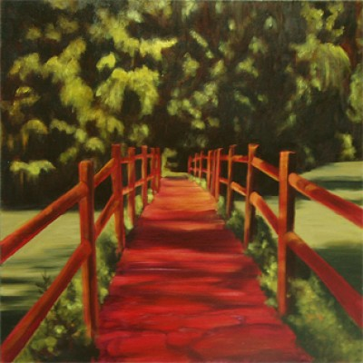 """""""Red Bridge"""" Oil on canvas, 24 x 24 inches, Signed"""