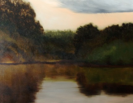 """""""River Scene"""" Oil on canvas, 48 x 62 inches, Signed"""