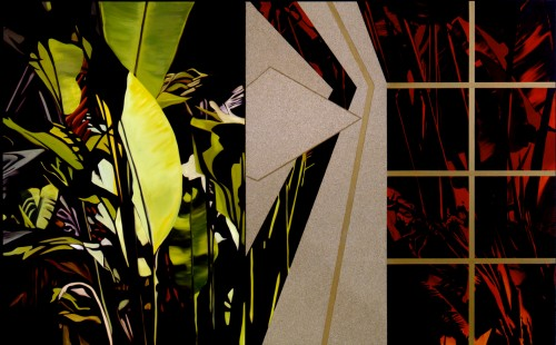 """""""Tropical Fever"""" Oil/Alkyd/Sand on canvas, 60 x 96 inches, Signed"""