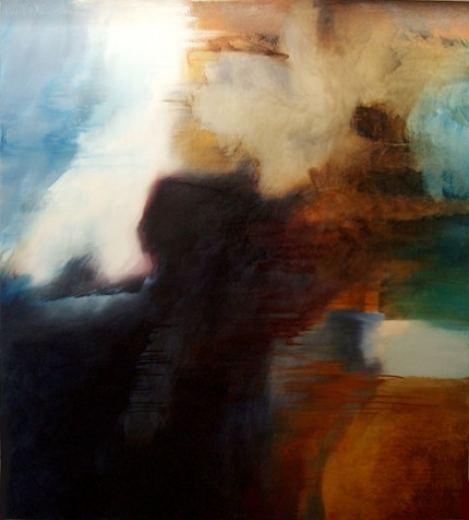 """""""Abstract View"""" Oil on canvas, 56 x 62 inches, Signed"""