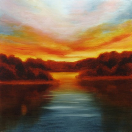 """""""Varenna Sunset"""" Oil on canvas, 36 x 36 inches, Signed"""