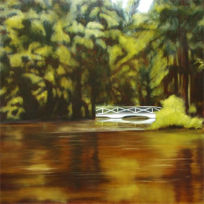 """""""White Bridge"""" Oil on canvas, 24 x 24 inches, Signed"""