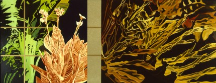 """""""Big Birds (of Paradise) & Split Leaves"""" Diptych, Oil/Slkyd/Sand on canvas, 48 x 124 inches, Signed"""