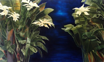"""""""Secret Garden"""" Oil on canvas, 36 x 60 inches, Signed"""