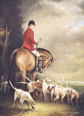 """Huntsman & Hounds"" Oil on stretched canvas, Signed"