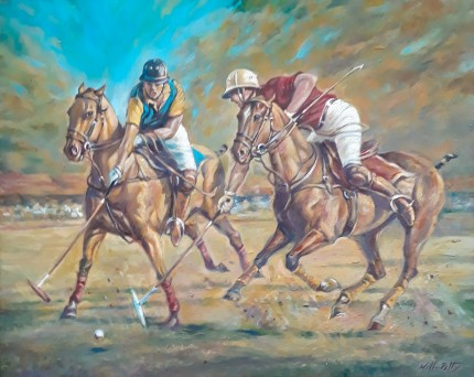 """Polo Action I"" (Pair) Oil on canvas, 15.7 x 19.6 inches, Signed"