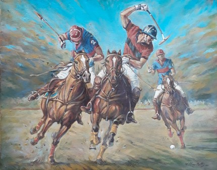 """Polo Action II"" (Pair) Oil on canvas, 15.7 x 19.6 inches, Signed"