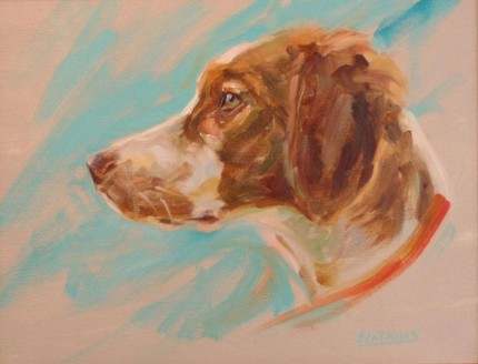 """""""Brittany"""" Oil on canvas, 9 x 12 inches, Signed"""