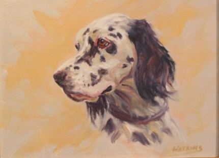 """""""English Setter"""" Oil on canvas, 9 x 12 inches, Signed"""