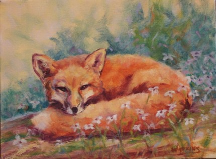 """""""Fox and Flowers"""" Oil on canvas, 9 x 12 inches, Signed"""