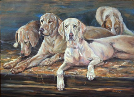 """""""Merrilee Hounds"""" Oil on canvas, 22 x 30 inches, Signed"""