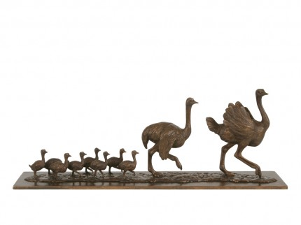 Ostrich Family, Bronze, Edition of 9, 32 x 91 x 18 cm
