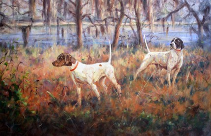 """""""Rendezvous"""" Oil on canvas, 24 x 36 inches, Signed"""