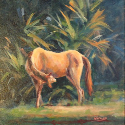 """""""The Itch"""" Oil on canvas, 12 x 12 inches, Signed"""