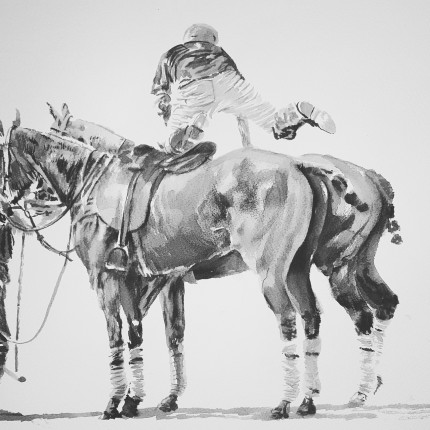 """Modern Polo"" Ink on paper, 14 x 27.5 inches (35 x 70 cm), Signed"