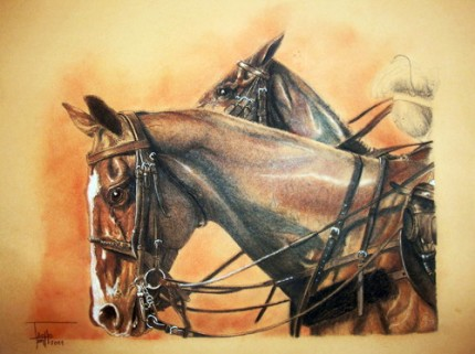 """End of Chukker"" Sanguine on paper, 27.5 x 29 inches, Signed"