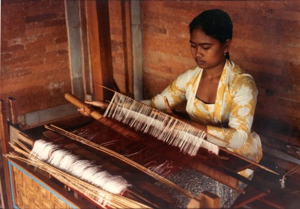 Bali woman at loom, One of an extensive photographic essay in color, Available as a vintage Ektacolor print, 8x10 or a modern digital print, any size.