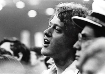 """Young Bill Clinton, Bill Clinton at the Democratic National Convention, Miami Beach, 1972 8x10"""" ilver print, Listening to George McGovern's acceptance speech as candidate for President, his young campaign worker looks enthralled and inspired."""