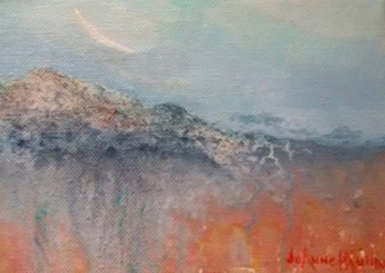 """""""Mystery Mountain"""" Acrylic on canvas, 5 x 7 inches, Signed"""