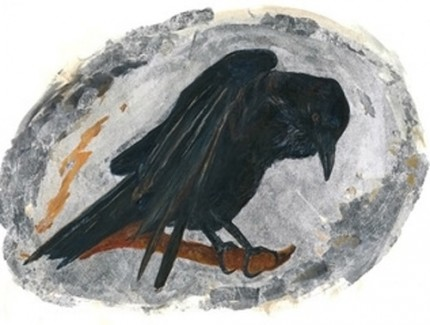 """""""Raven Magic"""" Acrylic and silver leaf on watercolor paper, 9 x 12 inches, Signed"""