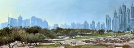 """Emirates GC 2015 Dubai Desert Classic"" Acrylic on canvas, 60 x 180 cm, Signed"