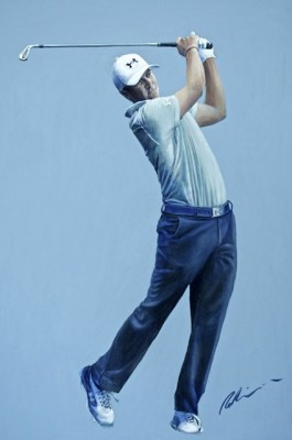 """Jordan Spieth, 2015 Masters"" Acrylic on canvas, 48 x 32 inches, Signed"