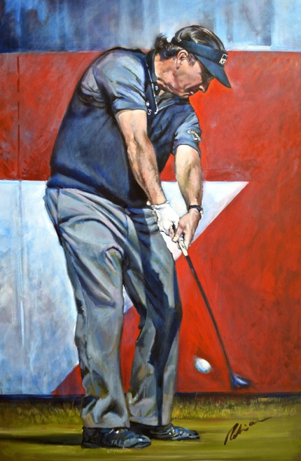 """Phil Mickelson, 2014 Abu Dhabi HSBC Tournament"" Acrylic on canvas, 48 x 32 inches, Signed"
