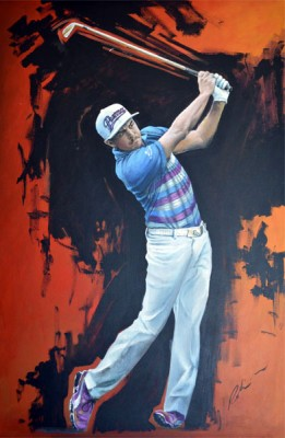 """Rickie Fowler, 2015 PGA Championship"" Acrylic on canvas, 48 x 32 inches, Signed"